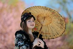 Helsinki, Roihuvuori, Finland 05/21/2017, HANAMI -festival when cherry trees bloom. Event with Japan style dressed  people in picn. Helsinki, Roihuvuori, Finland royalty free stock images