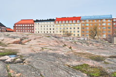 Helsinki. Rotsachtige cityscape Stock Foto's