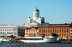 Helsinki sea front. Helsinki, Finlands capital city's sea front and cathedral as seen from the sea Stock Image