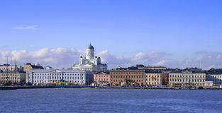 Helsinki seen from the sea. Helsinki city landmarks view seen from the sea stock images