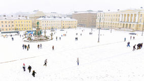 Helsinki Senate Square panorama in winter royalty free stock photography