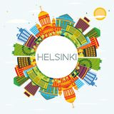 Helsinki Skyline with Color Buildings, Blue Sky and Copy Space. Royalty Free Stock Photos