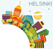 Helsinki Skyline with Color Buildings, Blue Sky and Copy Space. Royalty Free Stock Images