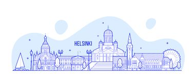 Helsinki skyline, Finland city buildings vector Stock Photos