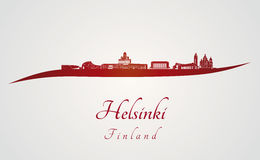 Helsinki skyline in red. And gray background in editable vector file Stock Photography
