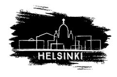 Helsinki Skyline Silhouette. Hand Drawn Sketch. Royalty Free Stock Images