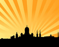 Helsinki skyline vector background. Vectored illustration of the skyline of finnish capital helsinki with most famous landmarks and sun beams background Stock Image