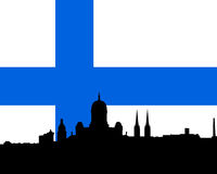 Helsinki skyline vector with flag. Vectored illustration of the skyline of finnish capital helsinki with most famous landmarks with national flag as background Stock Image