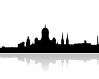 Helsinki skyline vector silhouette. Vectored illustration of the skyline of finnish capital helsinki with most famous landmarks Royalty Free Stock Image