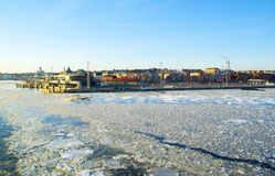 Helsinki spring landscape with ice drift Royalty Free Stock Photography