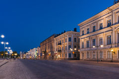Helsinki Street View at Night Royalty Free Stock Photos