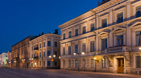 Helsinki Street View at Night Royalty Free Stock Images