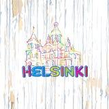 Helsinki variopinta che attinge fondo di legno royalty illustrazione gratis