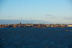 Helsinki view from the Baltic sea Royalty Free Stock Photo
