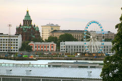 Helsinki view цшер panoramic wheel at sunset Stock Photos