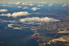 Helsinki aerial view. Helsinki viewed from the air in early spring stock photography