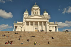 Helsinki White Cathedral. Beautiful Helsinki White Cathedral in capital city of Finland is located in center on front of big Senat's square and statue and royalty free stock photo