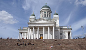 Helsinki white cathedral. White cathedral of Helsinki in Finland in summer Stock Photo