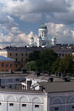 Helsinky Cathedral. Over old buildings stock photos