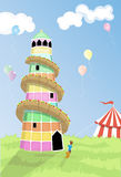 Helter skelter. Small boy looking up at fairground helter skelter Stock Image