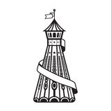 Helter skelter. A black and white Helter skelter image Royalty Free Stock Photography
