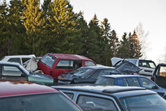 Helter-skelter of cars. Many cars in helter-skelter on the scrap yard Stock Images
