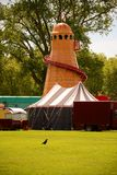 Helter skelter at closed fairground Royalty Free Stock Photography