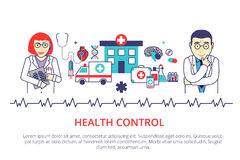 Helth care control concept in flat line style. Vector illustrati Royalty Free Stock Photo