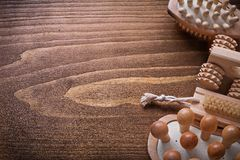 Helthcare background wooden sauna massagers and Royalty Free Stock Photography