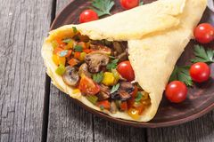 Omelette stuffed with vegetables. Helthy Italian breakfast . Omelette stuffed with vegetables stock photo