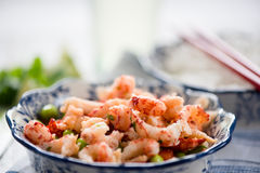 Helthy salad, asian style crayfish and edamame Stock Photos