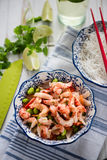 Helthy salad, asian style crayfish and edamame Stock Photo