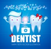 Helthy Teeth with Toothpaste, Bubbles, Red Bow and Speech Bubble. Cartoon Character Boy and Girl. Stomatology Design. Template. Dental Health Concept. Oral Care Stock Photos