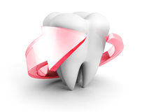 Helthy Tooth With Red Protection Arrow Arround. 3d Render Illustration Royalty Free Stock Images