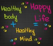 Helthy-Verstand und glückliches Leben Stockfoto