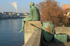 Helvetia statue on the Rhine in Basel Royalty Free Stock Image
