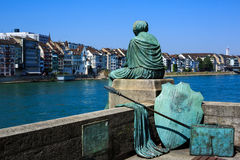 Helvetia statue on the Rhine in Basel, Switzerland Stock Images