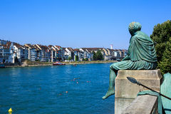 Helvetia statue on the Rhine in Basel, Switzerland Royalty Free Stock Photo