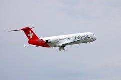 Helvetic Airways-Fokker F100 Stockfotos