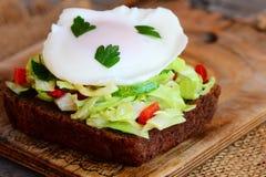 Hem- ägg tjuvjagad smörgås Ägget tjuvjagade på skiva för rågbröd med den ny kål, gurkan, peppar och persilja sund mat Royaltyfri Bild