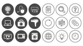 Hem- anordningar, apparatsymboler Elektroniktecken stock illustrationer