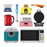 Hem- anordningar som lagar mat hem- utrustning- och för lägenhetstilhushåll matlagning för kök, ställde in teknologi för elektron stock illustrationer
