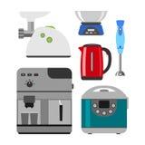 Hem- anordningar som lagar mat hem- utrustning- och för lägenhetstilhushåll matlagning för kök, ställde in teknologi för elektron vektor illustrationer