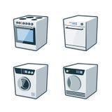 Hem- anordningar 2 - spis, diskare, tork, tvagningmaskin royaltyfri illustrationer