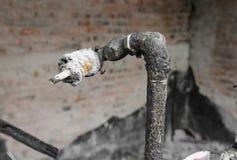 Hem- brand den abstrakta detaljen avbildar brandkatastrof från ett hem royaltyfria bilder