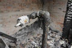 Hem- brand den abstrakta detaljen avbildar brandkatastrof från ett hem arkivbilder