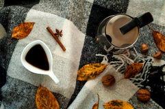 Hem- dekor för höst För metallkaffekruka och vit keramisk kaffekopp för tappning, kanelbruna pinnar, anisstjärnor och honung i ho royaltyfri fotografi
