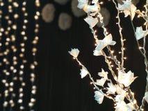 Hem- dekorer med pappers- blommor och ljus Arkivfoton