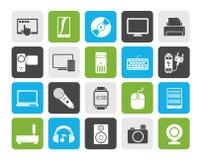 Hem- elektronik och personliga multimediaapparatsymboler vektor illustrationer