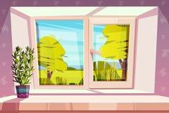 Hem- fönster med härlig sikt utanför vektor vektor illustrationer